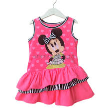 girls minnie mouse top party dress kids stripe clothes costume