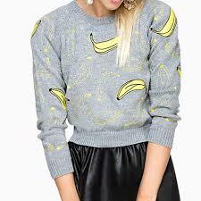 banana sweater bouna banana printed sleeves sweater gray in clothing