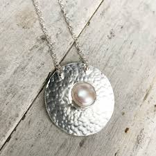 pearl pendant necklace silver images Handmade sterling silver freshwater pearl necklace by lizardi jewelry jpg