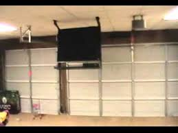 Drop Down Tv From Ceiling by Drop Down Tv In Garage Youtube