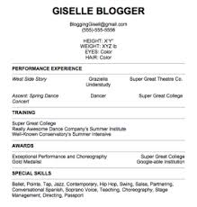 Sample Acting Resume No Experience by Dancers Resume Sample