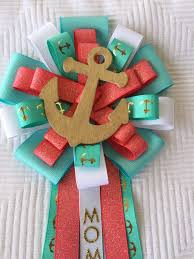 gold nautical teal and coral baby shower corsage under the sea