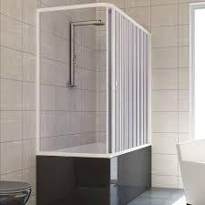 over bath shower enclosure plastic pvc folding doors panel side bath screen plastic pvc mod nadia with side opening