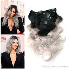 ombre extensions 7a top ombre clip in hair extensions 2 tone 1b silver grey 100g