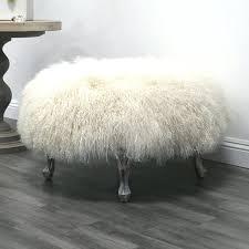 Fuzzy White Ottoman Outstanding Fuzzy White Ottoman Ottoman White Sheep Fur Ottoman