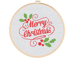 holiday cross stitch etsy