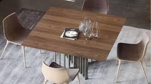 Walnut Dining Room Sets Modern Saida Square Dining Table Walnut On Titanium Zuri Furniture