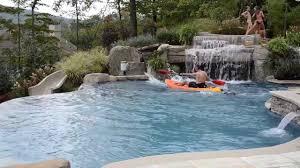 fun inground swimming pool design with slide kayaking youtube