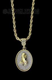 praying necklace iced out gold micro praying pendant chain necklace