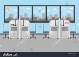 interior office design desk on blue stock vector 588066155