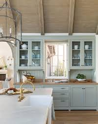 blue kitchen cabinets with wood countertops blue cottage kitchen cabinets with wood countertop cottage