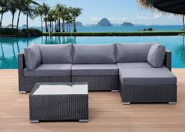 Black Wicker Patio Furniture - beliani pollyrattan garden sofa black wicker set aluminium