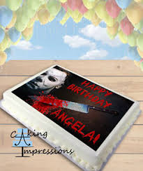 michael cake toppers michael myers horror bloody edible frosting image cake