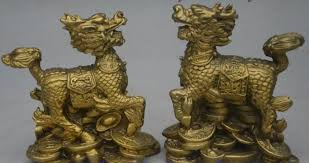 qilin statue bronze fengshui wealth yuanbao kylin chi qilin
