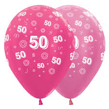 50th birthday flowers and balloons 12 inch 50th birthday flowers pink assorted balloons 25