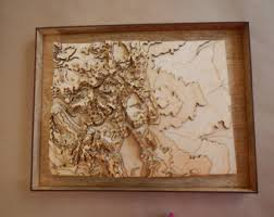 3 d map wooden laser cut map showing topography