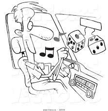 cartoon car drawing vector of a cartoon man listing to tunes in his car coloring