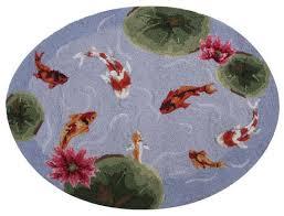 Fish Area Rugs Amazon Com Koi Fish Pond Area Bath Kitchen Hook Rug With Lotus