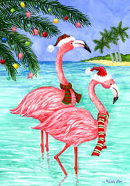 Custom Decor Garden Flags Pink Flamingo Christmas Coastal Beach Custom Decor Garden Flag