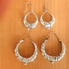 creole earrings lot of two pairs of silver creole earrings catawiki