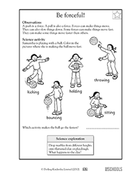 1st grade 2nd grade kindergarten science worksheets be forceful