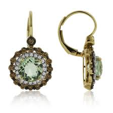 green amethyst earrings green amethyst and cognac diamond halo in 14k yellow gold 7mm