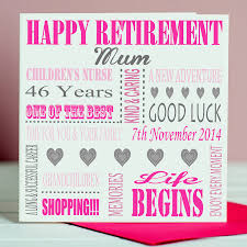 retirement card personalised retirement card by designs