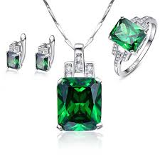 green crystal necklace set images Sterling silver hope of green emerald jewelry set js104 farak deal jpg