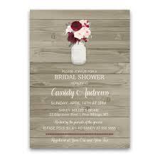 Mason Jar Bridal Shower Invitations Rustic Mason Jar Burgundy Bridal Shower Invitations
