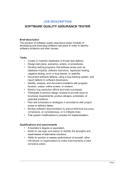 software quality assurance tester job description template