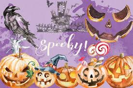 spooky haloween pictures watercolor spooky halloween clipart illustrations creative market