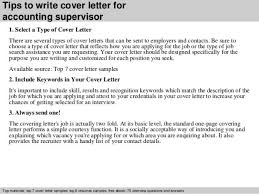 supervisory accountant cover letter