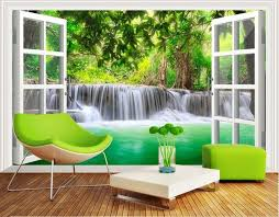 aliexpress com buy custom 3d mural 3d forest waterfall wallpaper