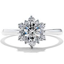 snowflake engagement ring delight di diamond engagement ring diamond flower and ring