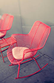 colourful hot pink metal mesh rocking chairs they would look as
