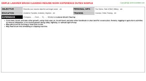 Laborer Job Description For Resume by Laborer Brush Clearing Resume Sample