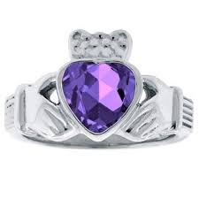 white gold and purple wedding amethyst birthstone heart claddagh symbol wedding ring in