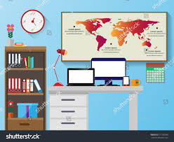Designing A Desk by Vector Office Desk Bookshelves Computer Flat Stock Vector