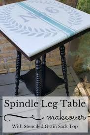 spindle leg table with grain sack stenciled top my thrifty house