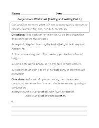 conjunctions worksheet circling and writing writing pinterest