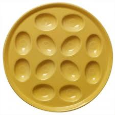 deviled egg platter in sunflower yellow from serveware