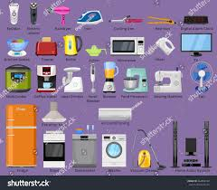 House Of Home Set Home Kitchen House Electronics Appliances Stock Vector