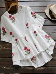 embroidered blouses floral embroidered high low blouse white blouses l zaful