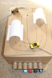 diy simple toy car and box play made from recycled boxes and card