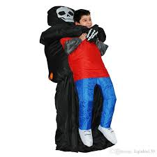 Cheap Men Halloween Costumes Grim Reaper Scary Suit Inflatable Illusion Skull Halloween