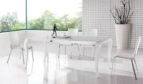 white finish modern extendable dining table w optional chairs