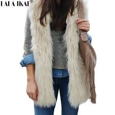 women faux fur vest black white fur gilet long fur coat sleeveless