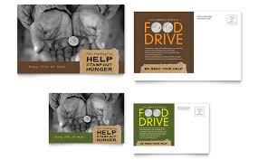 food drive fundraiser postcard template design