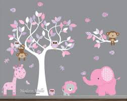 Jungle Wall Decal For Nursery Jungle Vinyl Decals Nursery Wall Decal With Elephant Animals