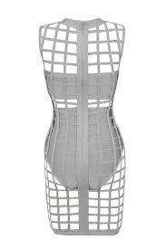 clothing bandage dresses u0027thyda u0027 grey bandage cage dress with